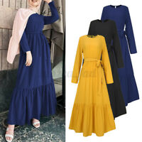 Women Long Sleeve Solid Muslim Casual Loose Layered Abaya Kaftan Belt Maxi Dress