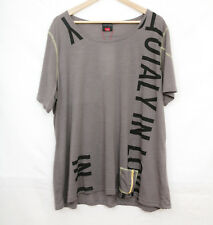 WOMANS GREY T-SHIRT TOP IN POLYCOTTON I'M TOTALLY IN LOVE SIZE 24 BY CPM