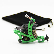 Green Coil Tattoo Machine Steel Frame Gun 10 Wrap Coils for Liner Shader Supply