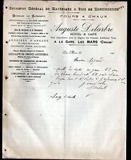 """LES MARS (23) FOUR à CHAUX / BOIS / HOTEL & CAFE """"Auguste DELARBRE"""" en 1911"""