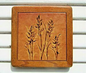 "Vintage Italian Ceramic Art Tile Trivet Oak Wood Frame Rustic 10 1/4""MCM"