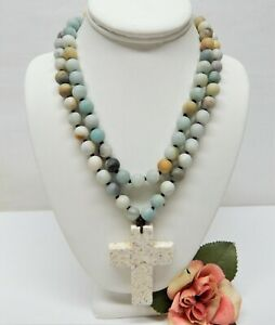 """HAND KNOTTED 10mm MATTE AGATE BEADED WHITE HOWLITE CROSS PENDANT NECKLACE 38"""""""
