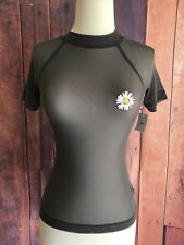 Out From Under Mesh See Through Top Size Small Daisy Embroidery NWT Gray