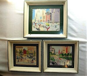 Set of 3 Mid Century Modern New York City Abstract Paintings