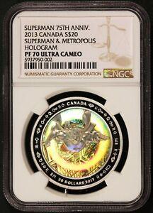 2013 Canada $20 Superman & Metropolis Hologram 1 oz Silver Coin - NGC PF 70 UCAM