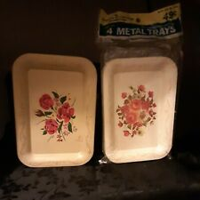 "Lot of ""9"" vintage Tip trays 6.5"" X 4.75"" pale yellow with flowers Metal N.O.S b"