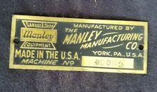 Old Advertising Emblem Plaque Manley Mfg Co York PA Garage & Shop Equipment