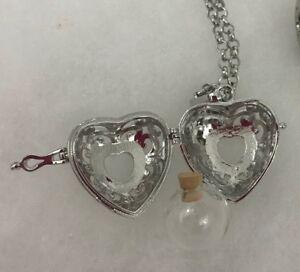 NEW! HEART FILLABLE BOTTLE VIAL PENDANT LOCKET CHARM - USA SELLER