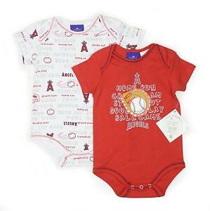 2 PIECE SET ANGELS NEW BORN BABY CREEPER 6-9 MONTHS ANAHEIM LOS ANGELES MLB