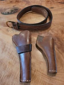 """Bianchi #B21 Tan Leather Gun Belt 38"""" With Two Holsters"""