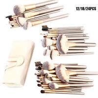 12/18/24pcs Professional  Eyebrow Shadow Soft Makeup Brush Set Kit + Pouch Bag