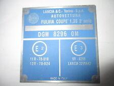 TARGHETTA LANCIA Plate ALU-SCUDO FULVIA COUPE 1,3 S 2. SERIE ID-plate s31