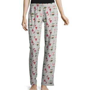 Jr Womens Soft Fuzzy Fleece Pajama Sleep Pants Christmas Polar Bear Size Large