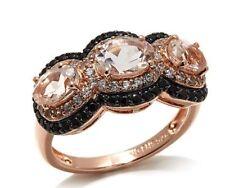 Rarities:Vermeil 2.3ctw Morganite, Wht Zircon & Blk Spinel Rose Gold Ring Sz 7
