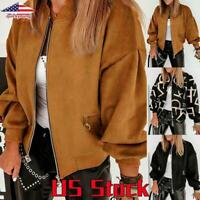 Womens Lantern Sleeve Zipper Coat Bomber Jacket Ladies Casual Pockets Outwear US