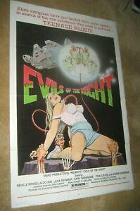 EVILS OF THE NIGHT '85   cult horror !   Great art  TRI FOLDED ORIGINAL & BONUS