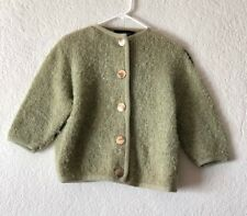 Vintage Women's Cardigan Saks Fifth Avenue Green Sage Large Gold Button - Sz S