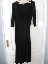 Tall Girls Black Jersey Wrap Dress Sz 12 Stretch Flattering Cruise Evening Work