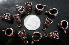 12 Bails antique copper pltd 14mm design nolead closed ring pendant bails pfg009