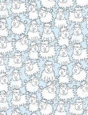 Fabric Sheep Cartoon Farm on Blue Cotton 1/4 Yard S