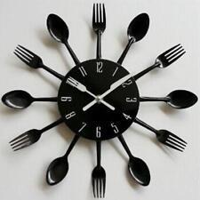 Cuisine Horloge Murale 3D Creative Cuisine Cuillère Fourchette Miroir Wall