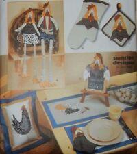 7166 Simplicity Kitchen Chicken Rooster Hen Crafts Pot Holders Place mat Runner