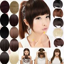 Clip in on Bangs Fringe Hair Extensions Human Made Real Natural Hair piece gd18