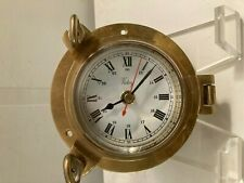 Vintage Heavy Brass Victory Beveled Glass Nautical Porthole Clock - Working