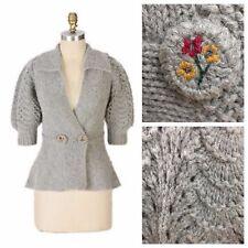 CHARLIE & ROBIN Anthropologie RARE Sprigs gray wool cardigan sweater medium M