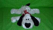 "Dan Dee DanDee 17"" Black & White Floppy Puppy Dog Plush Shiny Red Bow Hearts"