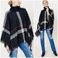 Black Plaid Turtleneck Poncho Knit Fringe Sweater Womens One Size