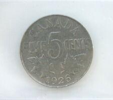 1926 George V 5 Cents Nickel CAN • Far 6 • Grade F-15