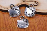 20pcs Charm cat pendant Diy Jewelry Bead Bracelet Necklace Tibet Silver 7082