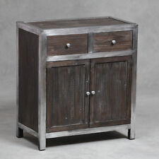 Industrial Cabinet Table Aluminium & Wood Large With 2 Drawers Storage