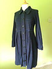Orla Kiely Blue Black Striped Cotton Jersey Swing Button Dress Jacket M 10/12