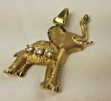 10k Fine Gold Elephant 🐘 Pendant W x3 diamonds 4.5g 1.5 inches