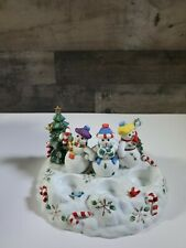 Partylite Snowbell Tealight & Pillar Candle Holder Snowman Family Christmas
