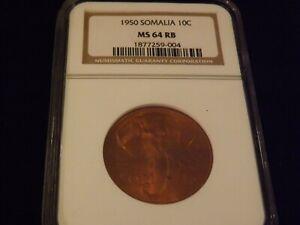 1950   10C      SOMALIA     NGC MS 64 RB