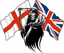 Racing Grim Reaper Skull Union Jack England St George Flag Car Bike Van Sticker