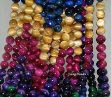 6MM TIGER EYE GEMSTONE GRADE AAA GOLD BLUE GREEN RED ROUND 6MM LOOSE BEADS 7.5""