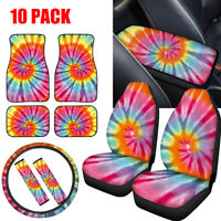 Tie-dye Car Seat Covers for Womens Combo Full Set 10 Pack Floor Mats Universal