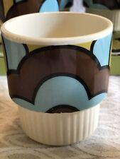 Set of 8 Super 60's Mod Coffee Cups, aqua- brown- citron