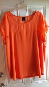 NUE OPTIONS PLUS Tangerine Top - 2X - Scoop, Extended Shldr Cap Slv, Knit/Sheer