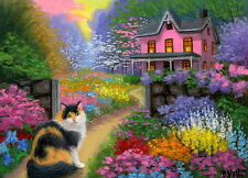 Calico cat cottage summer garden flowers landscape Oe aceo print art