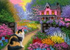 Calico cat cottage summer garden flowers landscape OE aceo print art