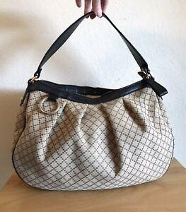 Gucci Tan Diamanté Hobo Handbag Medium Black Leather Shoulder Tote Bag Flawed
