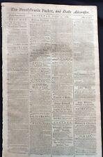 1788 newspaper BENJAMIN FRANKLIN Donates Money HELPS BUILD WASHINGTON ACADEMY Pa