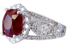 14K WHITE GOLD OVAL RUBY AND DIAMONDS ENGAGEMENT RING DECO BRIDAL HALO 4.50CT