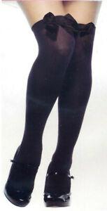 Women Black Opaque Over Knee Stockings Satin Bow Queen XL Leg Avenue 6255 Q
