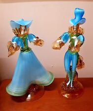 Very Large Decorative Barovier & Toso Murano Glass Figures Turquoise & Gold VGC